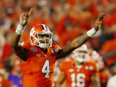GLENDALE, AZ - JANUARY 11:  Deshaun Watson #4 of the Clemson Tigers reacts against the Alabama Crimson Tide during the 2016 College Football Playoff National Championship Game at University of Phoenix Stadium on January 11, 2016 in Glendale, Arizona.  (Photo by Kevin C. Cox/Getty Images)