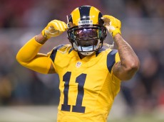 ST. LOUIS, MO - DECEMBER 17: Tavon Austin #11 of the St. Louis Rams adjusts his helmet prior to a game against the Tampa Bay Buccaneers at the Edward Jones Dome on December 17, 2015 in St. Louis, Missouri. (Photo by Michael B. Thomas/Getty Images)