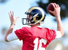 OXNARD, CA - MAY 06:  Jared Goff #16 of the Los Angeles Rams throws during a Los Angeles Rams rookie camp on May 06, 2016 in Oxnard, California.  (Photo by Harry How/Getty Images)