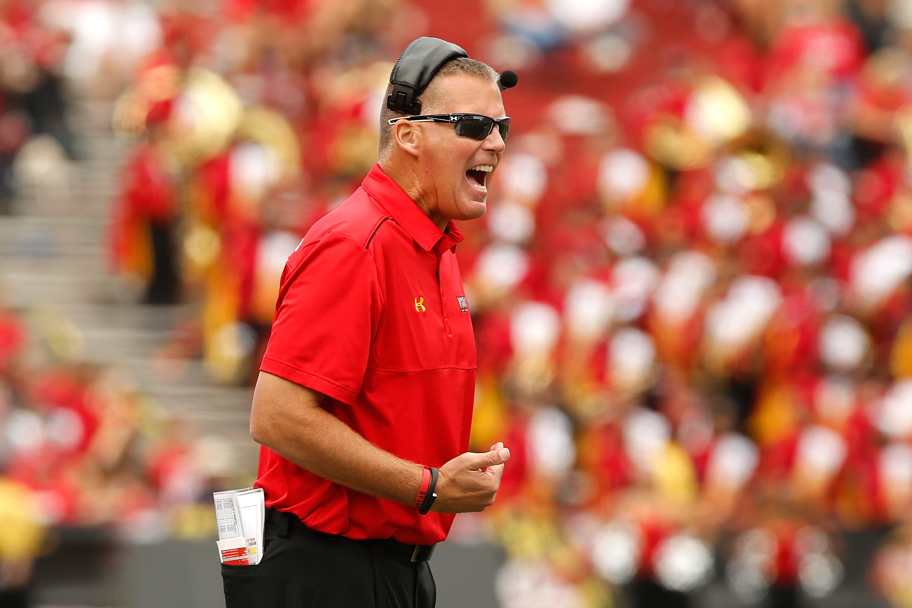 COLLEGE PARK, MD - OCTOBER 04:  Head coach Randy Edsall of the Maryland Terrapins yells to his players during the second half of their 52-24 loss to the Ohio State Buckeyes at Byrd Stadium on October 4, 2014 in College Park, Maryland.  (Photo by Jonathan Ernst/Getty Images)