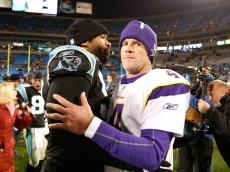CHARLOTTE, NC - DECEMBER 20:  Julius Peppers #90 of the Carolina Panthers against quarterback Brett Favre #4 of the Minnesota Vikings at Bank of America Stadium on December 20, 2009 in Charlotte, North Carolina.  (Photo by Kevin C. Cox/Getty Images)
