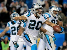 CHARLOTTE, NC - JANUARY 24:  Kurt Coleman #20 of the Carolina Panthers celebrates after intercepting a pass intended for John Brown #12 of the Arizona Cardinals at the end of the first half during the NFC Championship Game at Bank of America Stadium on January 24, 2016 in Charlotte, North Carolina.  (Photo by Mike Ehrmann/Getty Images)