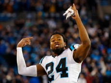CHARLOTTE, NC - JANUARY 24:  Josh Norman #24 of the Carolina Panthers celebrates in the fourth quarter against the Arizona Cardinals during the NFC Championship Game at Bank of America Stadium on January 24, 2016 in Charlotte, North Carolina.  (Photo by Kevin C. Cox/Getty Images)