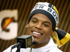 SAN JOSE, CA - FEBRUARY 01:  Cam Newton #1 of the Carolina Panthers addresses the media at Super Bowl Opening Night Fueled by Gatorade at SAP Center on February 1, 2016 in San Jose, California.  (Photo by Ezra Shaw/Getty Images)