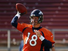 during practice at Stanford Stadium on February 4, 2016 in Stanford, California. The Broncos will play the Carolina Panthers in Super Bowl 50 on February 7, 2016.