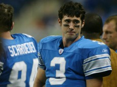DETROIT, MI - NOVEMBER 17:  Quarterback Joey Harrington #3 of the Detroit Lions shows his dejection in the closing seconds of his team's 31-14 loss to the New York Jets at Ford Field  on November 17, 2002 in Detroit, Michigan.  (Photo by Danny Moloshok/Getty Images)