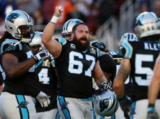SANTA CLARA, CA - FEBRUARY 07:   Ryan Kalil #67 of the Carolina Panthers warms up prior to playing the Denver Broncos in Super Bowl 50 at Levi's Stadium on February 7, 2016 in Santa Clara, California.  (Photo by Patrick Smith/Getty Images)