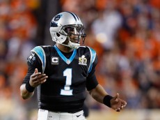SANTA CLARA, CA - FEBRUARY 07:  Quarterback Cam Newton #1 of the Carolina Panthers reacts while playing against the Denver Broncos during Super Bowl 50 at Levi's Stadium on February 7, 2016 in Santa Clara, California.  (Photo by Ezra Shaw/Getty Images)