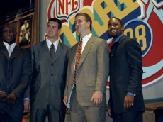 18 Apr 1998:  (L-R) First round picks Curtis Enis, Ryan Leaf, Peyton Manning and Charles Woodson look on during the 1998 NFL Draft at Madison Square Garden in Manhattan, New York. Mandatory Credit: Jamie Squire  /Allsport