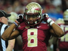 ATLANTA, GA - DECEMBER 31: Jalen Ramsey #8 of the Florida State Seminoles heads off the field against the Houston Cougars during the Chick-Fil-A Peach Bowl at the Georgia Dome on December 31, 2015 in Atlanta, Georgia. (Photo by Scott Cunningham/Getty Images)