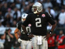 OAKLAND, CA - NOVEMBER 15:  JaMarcus Russell #2 of the Oakland Raiders looks on against the Kansas City Chiefs during an NFL game at Oakland-Alameda County Coliseum on November 15, 2009 in Oakland, California.  (Photo by Jed Jacobsohn/Getty Images)