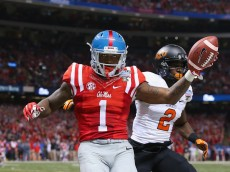 NEW ORLEANS, LA - JANUARY 01:  Laquon Treadwell #1 of the Mississippi Rebels celebrates scoring a 14-yard touchdown against the Oklahoma State Cowboys during the fourth quarter of the Allstate Sugar Bowl at Mercedes-Benz Superdome on January 1, 2016 in New Orleans, Louisiana.  (Photo by Sean Gardner/Getty Images)
