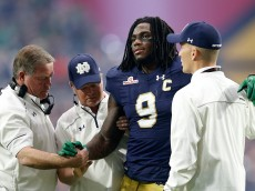 GLENDALE, AZ - JANUARY 01:  Linebacker Jaylon Smith #9 of the Notre Dame Fighting Irish walks off the field after an injury during the first quarter of the BattleFrog Fiesta Bowl against the Ohio State Buckeyes at University of Phoenix Stadium on January 1, 2016 in Glendale, Arizona.  The Buckeyes defeated the Fighting Irish 44-28.  (Photo by Christian Petersen/Getty Images)