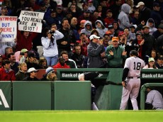 BOSTON - MAY 01:  Johnny Damon #18 of the New York Yankees goes back into the dugout after popping out to third base in the fifth inning against the Boston Red Sox at Fenway Park May 1, 2006 in Boston, Massachusetts.  (Photo by Ezra Shaw/Getty Images)