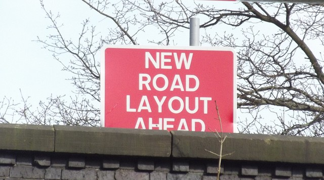 New road layout ahead
