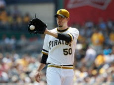 PITTSBURGH, PA - AUGUST 10:  Charlie Morton #50 of the Pittsburgh Pirates takes the mound against the San Diego Padres during the first inning of their game on August 10, 2014 at PNC Park in Pittsburgh, Pennsylvania.   The Padres defeated the Pirates 8-2.  (Photo by David Maxwell/Getty Images)