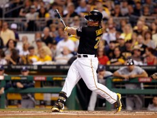 PITTSBURGH, PA - SEPTEMBER 20:  Travis Snider #23 of the Pittsburgh Pirates bats against the Milwaukee Brewers during the first inning of their game on September 20, 2014 at PNC Park in Pittsburgh, Pennsylvania.  The Brewers defeated the Pirates 1-0.  (Photo by David Maxwell/Getty Images)