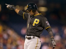 PHILADELPHIA, PA - SEPTEMBER 10: Left fielder Starling Marte #6 of the Pittsburgh Pirates reacts after hitting an RBI single in the top of the sixth inning against the Philadelphia Phillies on September 10, 2014 at Citizens Bank Park in Philadelphia, Pennsylvania. The Pirates defeated the Phillies 6-3 (Photo by Mitchell Leff/Getty Images)