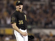 PITTSBURGH, PA - SEPTEMBER 19:  Mark Melancon #35 of the Pittsburgh Pirates celebrates after closing out the ninth inning with a 4-2 win against the Milwaukee Brewers at PNC Park on September 19, 2014 in Pittsburgh, Pennsylvania.  (Photo by Justin K. Aller/Getty Images)