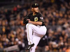 PITTSBURGH, PA - OCTOBER 01:  John Holdzkom #43 of the Pittsburgh Pirates pitches in the eighth inning against the San Francisco Giants during the National League Wild Card game at PNC Park on October 1, 2014 in Pittsburgh, Pennsylvania.  (Photo by Jason Miller/Getty Images)