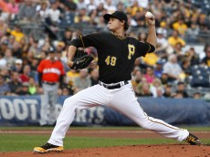 PITTSBURGH, PA - AUGUST 06: Jeff Locke #49 of the Pittsburgh Pirates pitches in the first inning against the Miami Marlins during the game at PNC Park on August 6, 2014 in Pittsburgh, Pennsylvania.  (Photo by Justin K. Aller/Getty Images)