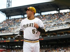PITTSBURGH, PA - SEPTEMBER 14:  Andrew Lambo #57 of the Pittsburgh Pirates takes the field against the Chicago Cubs during the first inning of their game on September 14, 2014 at PNC Park in Pittsburgh, Pennsylvania.  The Pirates defeated the Cubs 7-3.  (Photo by David Maxwell/Getty Images)
