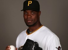 BRADENTON, FL - FEBRUARY 26:  Radhames Liz #58 of the Pittsburgh Pirates poses for a portrait on photo day on February 26, 2015 at Pirate City in Bradenton, Florida.  (Photo by Rob Carr/Getty Images)