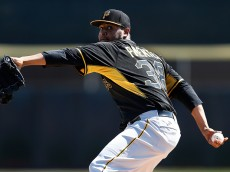 DUNEDIN, FL - MARCH 3: Stolmy Pimentel #38 of the Pittsburgh Pirates warms up before the third inning of the game against the Toronto Blue Jays at Florida Auto Exchange Stadium on March 3, 2015 in Dunedin, Florida. (Photo by Joe Robbins/Getty Images)
