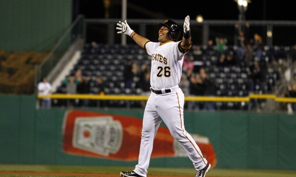 PITTSBURGH, PA - APRIL 02:  Tony Sanchez #26 of the Pittsburgh Pirates celebrates after hitting the game-winning RBI single in the 16th inning against the Chicago Cubs during the game at PNC Park April 2, 2014 in Pittsburgh, Pennsylvania.  The Pirates defeated the Cubs 4-3 in 16 innings.  (Photo by Justin K. Aller/Getty Images)