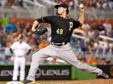 MIAMI, FL - JUNE 13: Jeff Locke #49 of the Pittsburgh Pirates delivers a pitch during the second inning of the game against the Miami Marlins at Marlins Park on June 13, 2014 in Miami, Florida.  (Photo by Rob Foldy/Getty Images)