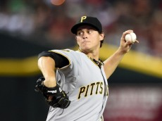 PHOENIX, AZ - JULY 31: Jeff Locke #49 of the Pittsburgh Pirates delivers a first inning pitch against the Arizona Diamondbacks at Chase Field on July 31, 2014 in Phoenix, Arizona. (Photo by Norm Hall/Getty Images)
