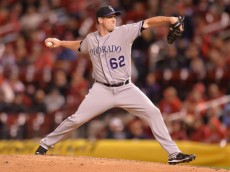 ST. LOUIS, MO - SEPTEMBER 12: Relief pitcher Rob Scahill #62 of the Colorado Rockies pitches in the eighth inning against the St. Louis Cardinals at Busch Stadium on September 12, 2014 in St. Louis, Missouri. The Cardinals defeated the Rockies 5-1. (Photo by Michael B. Thomas/Getty Images)