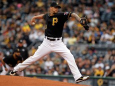 PITTSBURGH, PA - APRIL 14:  A.J. Burnett #34 of the Pittsburgh Pirates pitches in the first inning during interleague play against the Detroit Tigers at PNC Park on April 14, 2015 in Pittsburgh, Pennsylvania.  (Photo by Justin K. Aller/Getty Images)