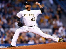 PITTSBURGH, PA - APRIL 15:  Francisco Liriano #47 of the Pittsburgh Pirates pitches in the third inning against the Detroit Tigers while wearing the #42 to commemorate Jackie Robinson Day during the game at PNC Park on April 15, 2015 in Pittsburgh, Pennsylvania.  (Photo by Jared Wickerham/Getty Images)
