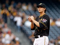 PITTSBURGH, PA - APRIL 18:  Jeff Locke #49 of the Pittsburgh Pirates reacts after the Milwaukee Brewers scored on a sacrifice fly in the first inning during the game at PNC Park on April 18, 2015 in Pittsburgh, Pennsylvania.  (Photo by Justin K. Aller/Getty Images)