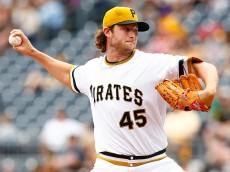 PITTSBURGH, PA - APRIL 19:  Gerrit Cole #45 of the Pittsburgh Pirates pitches in the second inning against the Milwaukee Brewers during the game at PNC Park on April 19, 2015 in Pittsburgh, Pennsylvania.  (Photo by Jared Wickerham/Getty Images)