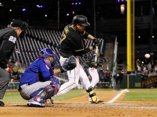 PITTSBURGH, PA - APRIL 21: Jung Ho Kang #27 of the Pittsburgh Pirates hits a bases-clearing RBI double in the seventh inning against the Chicago Cubs at PNC Park on April 21, 2015 in Pittsburgh, Pennsylvania.  (Photo by Jared Wickerham/Getty Images)