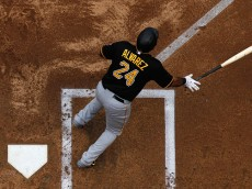 PHOENIX, AZ - APRIL 26:  Pedro Alvarez #24 of the Pittsburgh Pirates flips his bat after hitting a two RBI single against the Arizona Diamondbacks during the first inning of the MLB game at Chase Field on April 26, 2015 in Phoenix, Arizona.  The Pirates defeated the Diamondbacks 8-0. (Photo by Christian Petersen/Getty Images)
