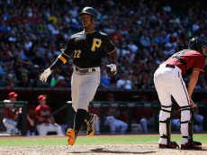 PHOENIX, AZ - APRIL 26:  Andrew McCutchen #22 of the Pittsburgh Pirates scores a fifth inning run against the Arizona Diamondbacks during the MLB game at Chase Field on April 26, 2015 in Phoenix, Arizona. The Pirates defeated the Diamondbacks 8-0. (Photo by Christian Petersen/Getty Images)