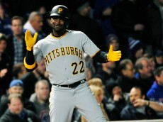 CHICAGO, IL - APRIL 29: Andrew McCutchen #22 of the Pittsburgh Pirates reacts after hitting a two-RBI triple against the Chicago Cubs during the sixth inning on April 29, 2015 at Wrigley Field in Chicago, Illinois. (Photo by David Banks/Getty Images)