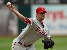 OAKLAND, CA - SEPTEMBER 21:  A.J. Burnett #34 of the Philadelphia Phillies pitches against the Oakland Athletics in the bottom of the first inning at O.co Coliseum on September 21, 2014 in Oakland, California.  (Photo by Thearon W. Henderson/Getty Images)