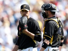 BRADENTON, FL - MARCH 5: Charlie Morton #50 and Chris Stewart #19 of the Pittsburgh Pirates talk during the third inning of the game against the New York Yankees at McKechnie Field on March 5, 2015 in Bradenton, Florida. (Photo by Joe Robbins/Getty Images)