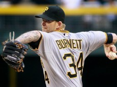 PHOENIX, AZ - APRIL 25:  Starting pitcher A.J. Burnett #34 of the Pittsburgh Pirates delivers a pitch against the Arizona Diamondbacks during the second inning of a MLB game at Chase Field on April 25, 2015 in Phoenix, Arizona.  (Photo by Ralph Freso/Getty Images)