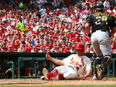 ST. LOUIS, MO - MAY 2: Peter Bourjos #8 of the St. Louis Cardinals scores the game-tying run against the Pittsburgh Pirates against the Pittsburgh Pirates in the sixth inningat Busch Stadium on May 2, 2015 in St. Louis, Missouri.  (Photo by Dilip Vishwanat/Getty Images)