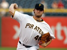 PITTSBURGH, PA - MAY 06:  Gerrit Cole #45 of the Pittsburgh Pirates pitches in the first inning during the game against the Cincinnati Reds at PNC Park on May 6, 2015 in Pittsburgh, Pennsylvania.  (Photo by Justin K. Aller/Getty Images)