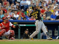 PHILADELPHIA - MAY 12: Andrew McCutchen #22 of the Pittsburgh Pirates bats in the third inning during a game against the Philadelphia Phillies at Citizens Bank Park on May 12, 2015 in Philadelphia, Pennsylvania. The Pirates won 7-2. (Photo by Hunter Martin/Getty Images)