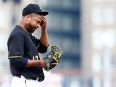 PITTSBURGH, PA - MAY 19:  Francisco Liriano #47 of the Pittsburgh Pirates takes a moment in between pitches in the second inning against the Minnesota Twins during the game at PNC Park on May 19, 2015 in Pittsburgh, Pennsylvania.  (Photo by Jared Wickerham/Getty Images)