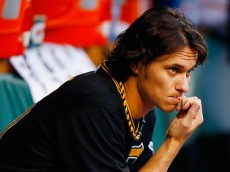 PITTSBURGH, PA - MAY 20:  Jeff Locke #49 of the Pittsburgh Pirates looks on from the dugout in the second inning against the Minnesota Twins during the game at PNC Park on May 20, 2015 in Pittsburgh, Pennsylvania.  (Photo by Jared Wickerham/Getty Images)