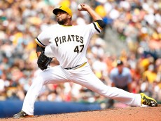 PITTSBURGH, PA - MAY 24:  Francisco Liriano #47 of the Pittsburgh Pirates pitches in the fifth inning against the New York Mets during the game at PNC Park on May 24, 2015 in Pittsburgh, Pennsylvania.  (Photo by Jared Wickerham/Getty Images)