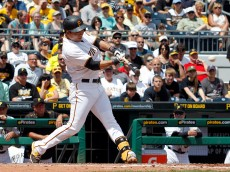 PITTSBURGH, PA - MAY 27:  Jung Ho Kang #27 of the Pittsburgh Pirates hits a two RBI single in the seventh inning during the game against the Miami Marlins at PNC Park on May 27, 2015 in Pittsburgh, Pennsylvania.  (Photo by Justin K. Aller/Getty Images)
